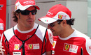 Fernando Alonso and Felipe Massa share a joke
