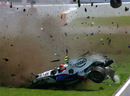 Robert Kubica's BMW Sauber obliterates after hitting the barriers