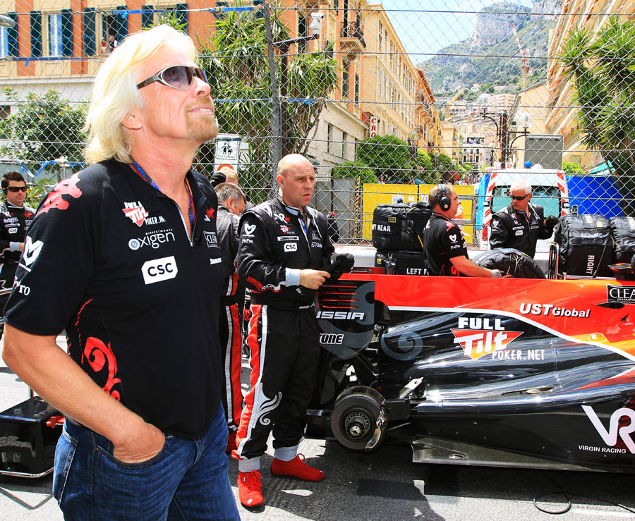 Sir Richard Branson soaks up the atmosphere on the Monaco grid