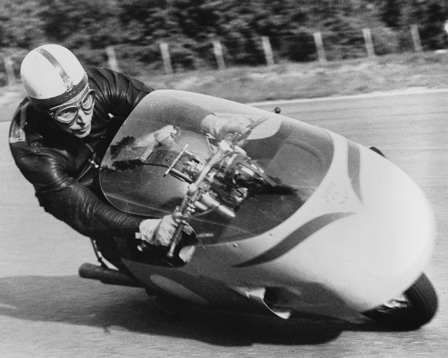 John Surtees testing a motorbike on the high-speed Monza circuit