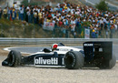 Andrea de Cesaris runs wide into the gravel