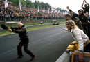 Colin Chapman celebrates victory for Lotus
