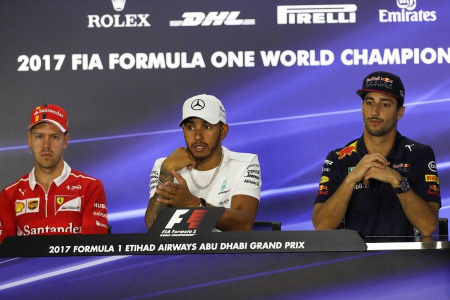 Sebastian Vettel, Lewis Hamilton and Daniel Ricciardo in the Press Conference