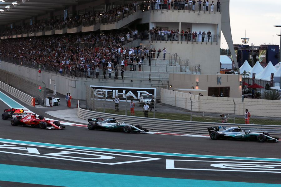 Valtteri Bottas leads at the start of the race