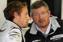 Jenson Button talks to Ross Brawn before free practice at Interlagos
