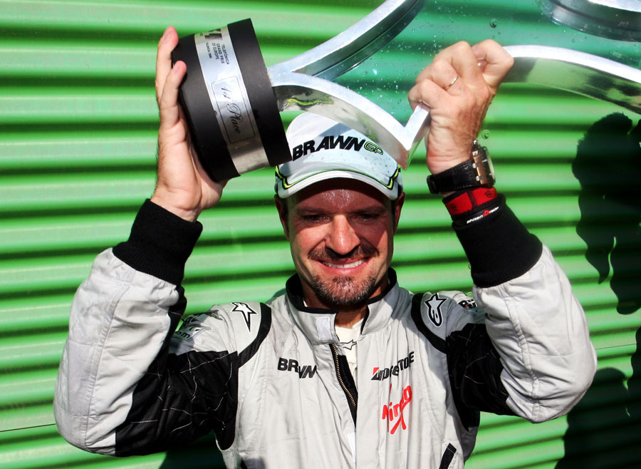 Rubens Barrichello savours victory in the European Grand Prix