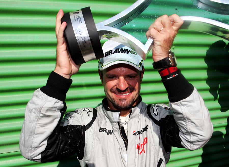 Rubens Barrichello savours victory in the European Grand Prix