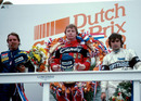 Didier Pironi celebrates on the podium after winning the Dutch Grand Prix
