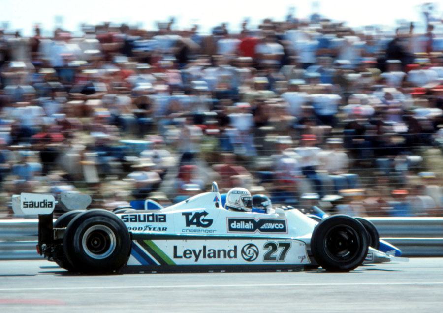 Alan Jones passes Jacques Laffite for the lead
