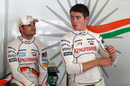 Force India drivers Tonio Liuzzi and Paul di Resta during the first practice session