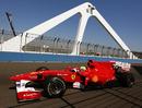 Felipe Massa crosses the swing bridge
