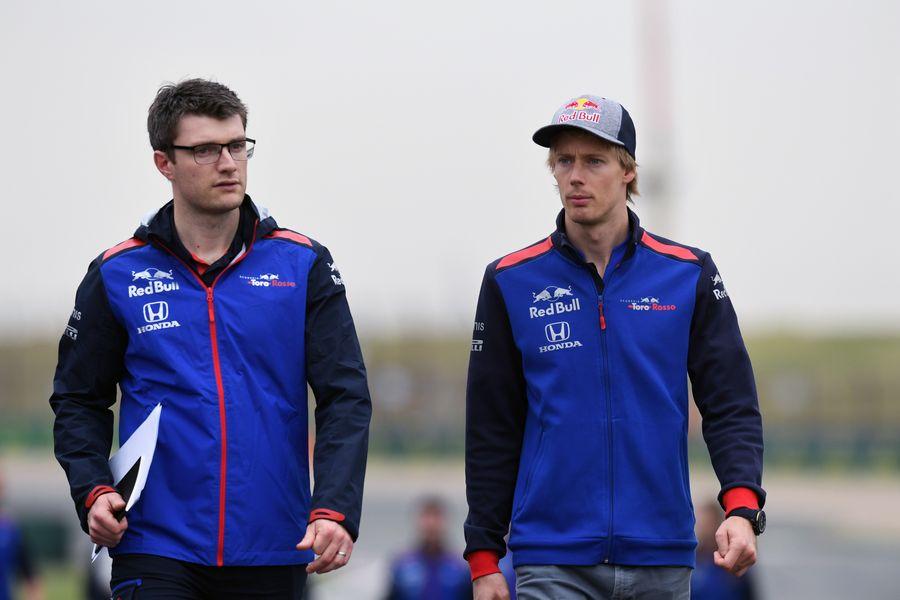 Brendon Hartley walks the track
