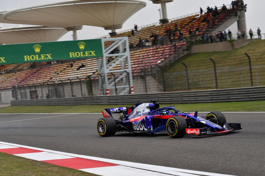 Brendon Hartley on track in the Toro Rosso