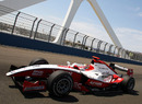 Jules Bianchi heads over the swing bridge, GP2 feature race, European Grand Prix, Valencia, June 26, 2010