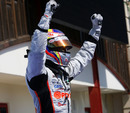 Pastor Maldonado celebrates his victory, GP2 feature race, European Grand Prix, Valencia, June 26, 2010