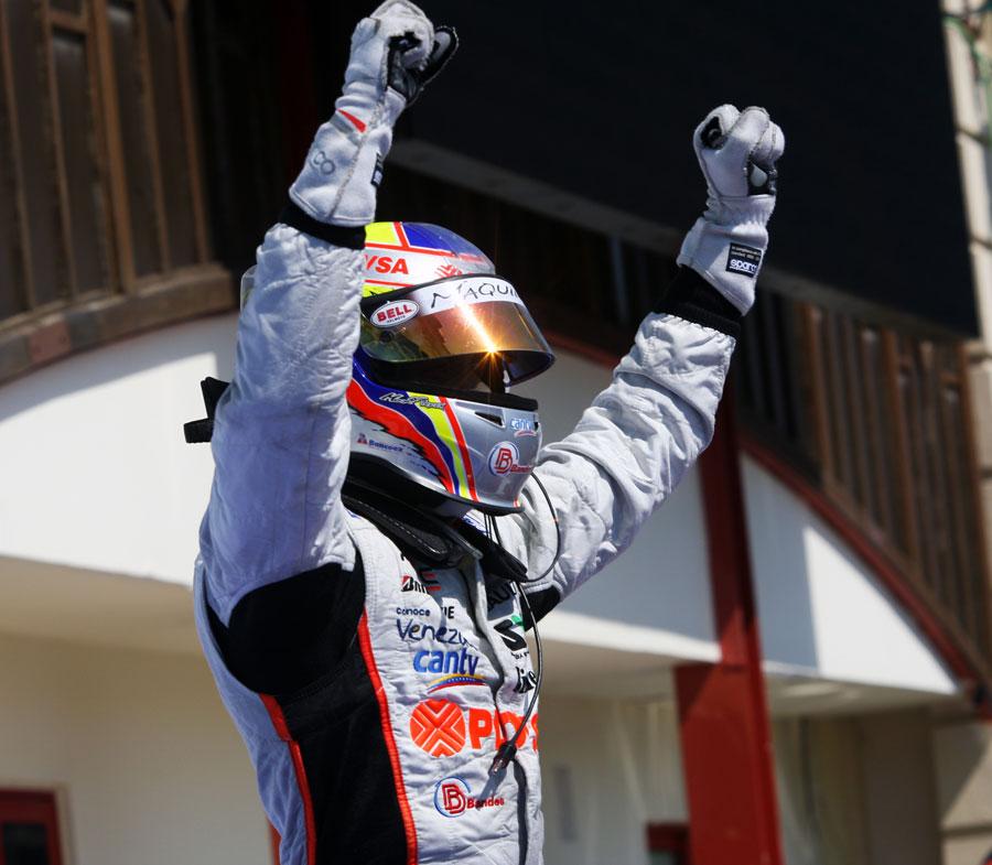 Pastor Maldonado celebrates his victory