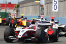 Sam Bird leads a pack of cars at the start of the race, GP2 feature race, European Grand Prix, Valencia, June 26, 2010