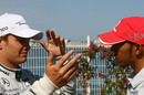 Nico Rosberg and Lewis Hamilton talk about all matters F1 and football on race day