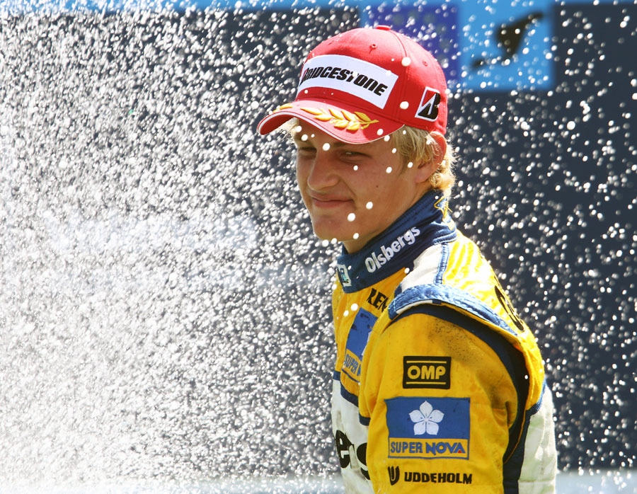 Markus Ericsson celebrates his first GP2 victory