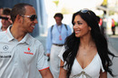 Lewis Hamilton arrives with girlfriend Nicole Scherzinger on race day