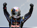 Sebastian Vettel celebrates winning the European Grand Prix