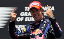 A delighted Sebastian Vettel on the podium