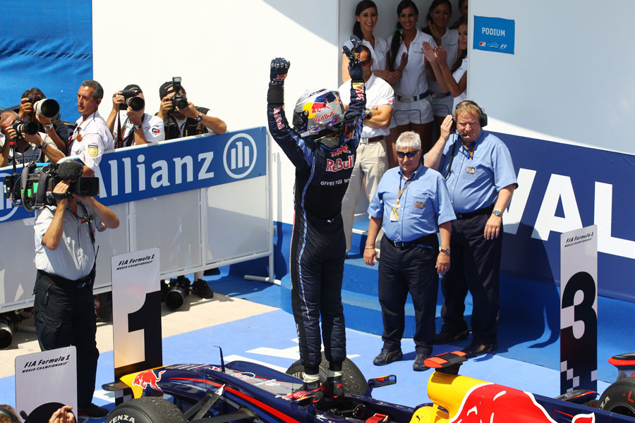 Sebastian Vettel ackowledges the crowd after victory