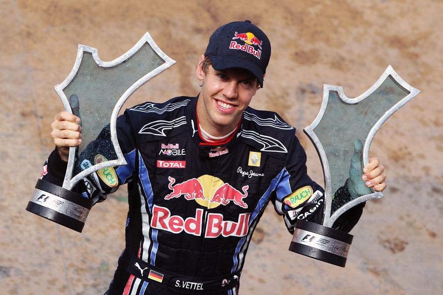 Sebastian Vettel with his European Grand Prix trophies