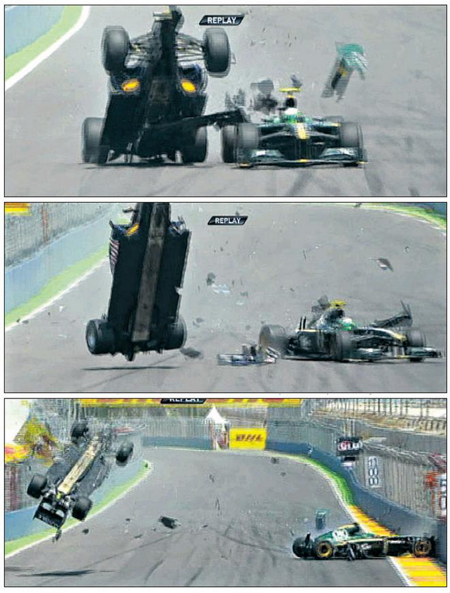 Mark Webber's Red Bull goes airborne after his collision