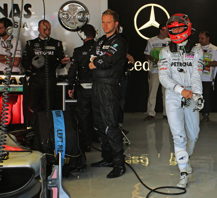 Michael Schumacher prepares for the race