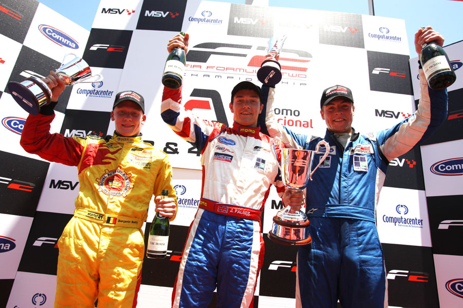 Race winner Jolyon Palmer, second placed Benjamin Bailly  and Jack Clarke