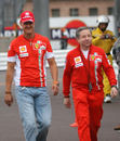 Michael Schumacher and Jean Todt in the paddock