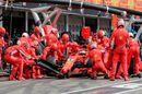 Sebastian Vettel makes a pitstop for a tyre change