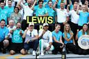 Race winner Lewis Hamilton celebrates with his team