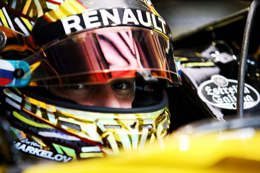 Artem Markelov sits in the Renault