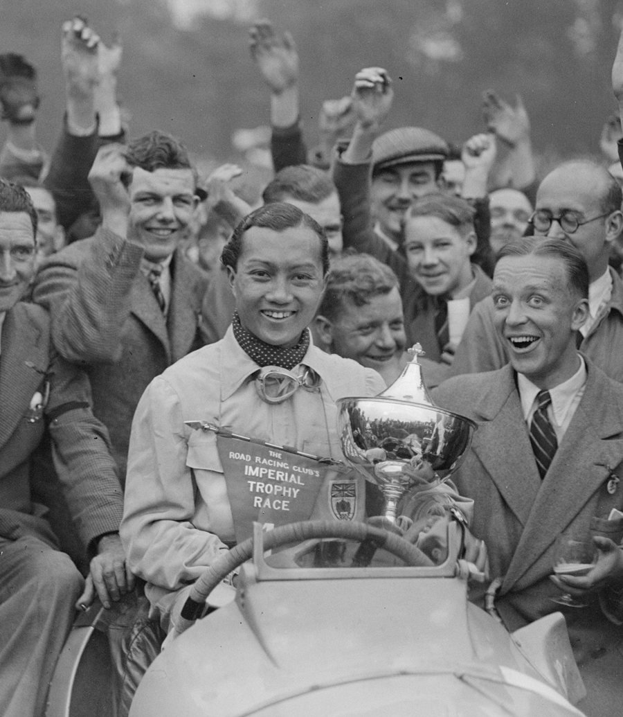 Prince Bira in jubilant mood after winning the Road Racing Club's Imperial Trophy Race at Crystal Palace.