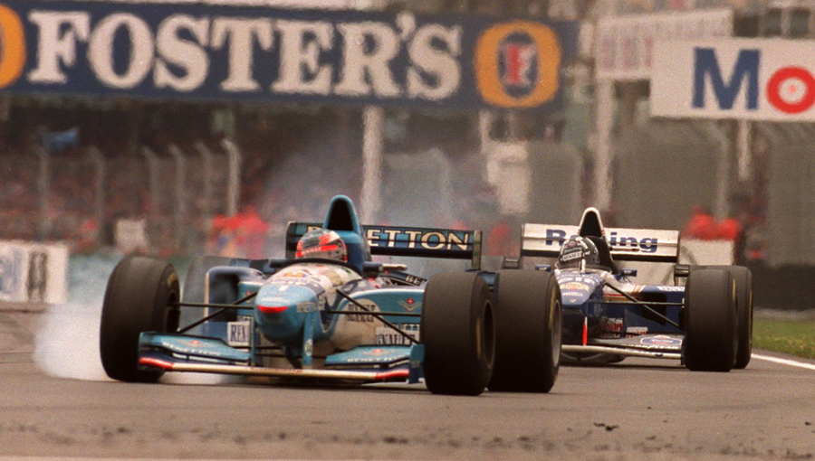 Michael Schumacher locks his brakes shortly before his collision with Damon Hill