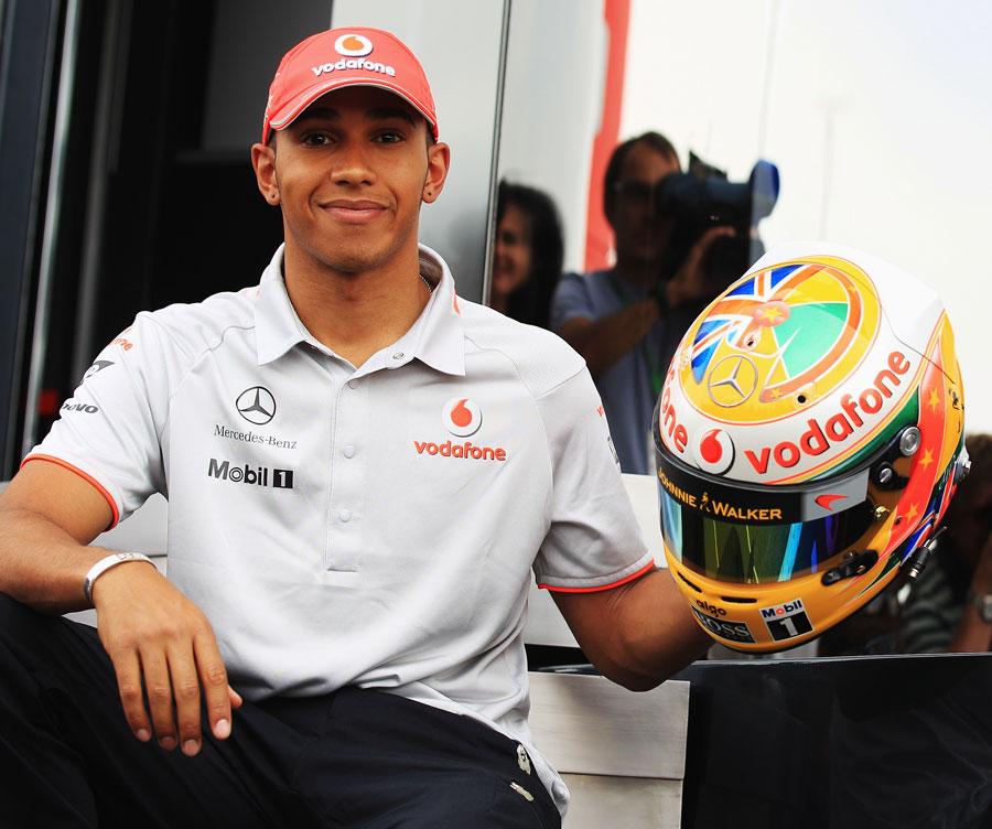 lewis hamilton helmet 2011. Lewis Hamilton shows off his