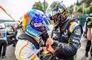 Nico Hulkenberg and apologises to Fernando Alonso