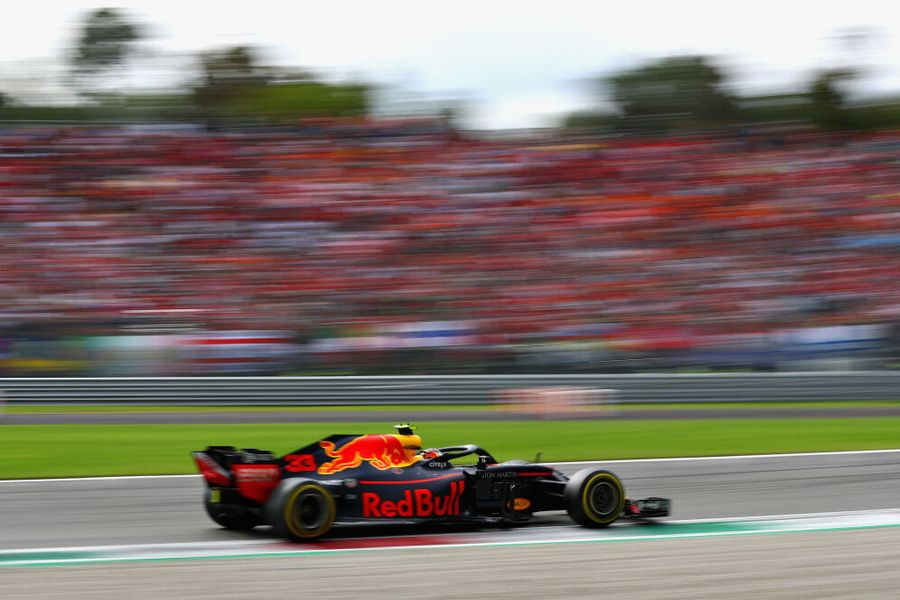 Max Verstappen on track in the Red Bull