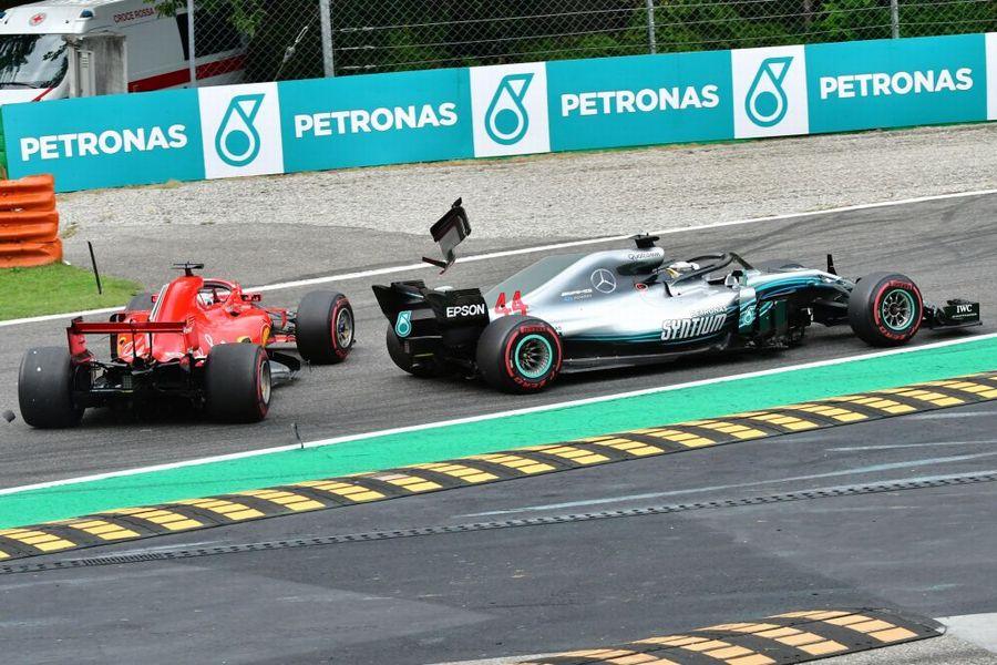 Lewis Hamilton and Sebastian Vettel cras