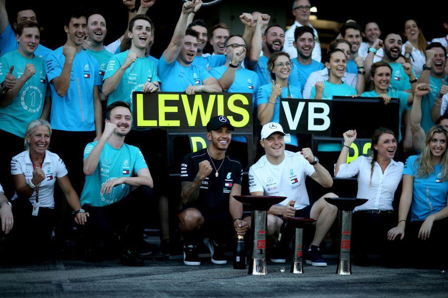 Race winner Lewis Hamilton and Valtteri Bottascelebrates with their team