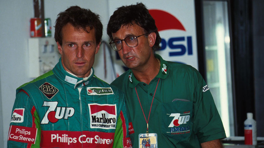 Jordan boss Eddie Jordan (R) with driver Andrea de Cesaris