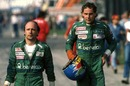 Teo Fabi (L) and his Benetton team-mate Gerhard Berger at the 1986 Italian Grand Prix