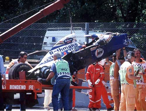 The remains of Ayrton Senna's car after his fatal crash