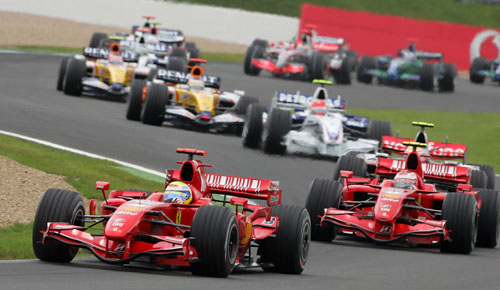 Felipe Massa leads Ferrari team-mate Kimi Raikkonen