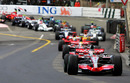 McLaren's Fernando Alonso leads the pack in Monaco