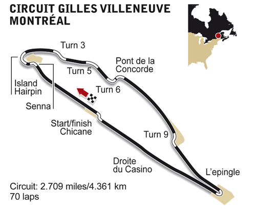 Circuit Gilles Villeneuve circuit diagram