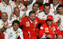 Ferrari celebrate winning the 2007 constructors' championship after the disqualification of McLaren