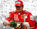 Kimi Raikkonen celebrates winning  the 2007 world championship